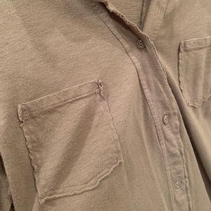 Michael Stars Tops - Michael stars cotton button up long torso, olive